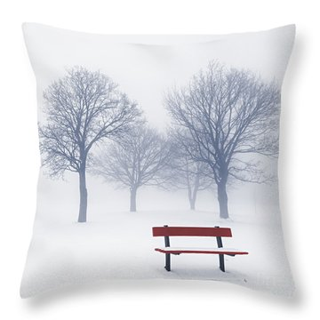 Winter Trees And Bench In Fog Throw Pillow