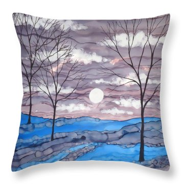 Winter Trees And Moon Landscape Throw Pillow