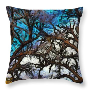 Throw Pillow featuring the photograph Winter Trees At Fort Tejon Lebec California Abstract by Floyd Snyder