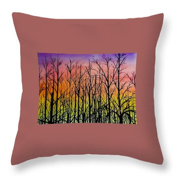 Winter Trees At Sunset Throw Pillow by Ellen Canfield