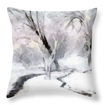 Throw Pillow featuring the digital art Winter Trees by Francesa Miller