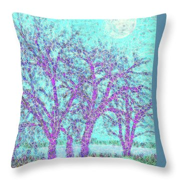 Throw Pillow featuring the digital art Winter Trees In Moonlight Blue - Boulder County Colorado by Joel Bruce Wallach