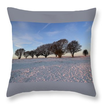 Winter Trees On The Ring Throw Pillow by Hazy Apple