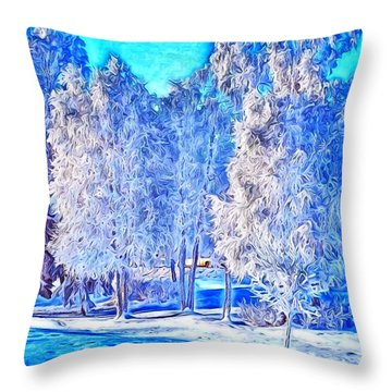 Throw Pillow featuring the digital art Winter Trees by Ron Bissett