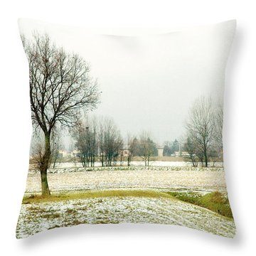 Winter Trees Throw Pillow by Silvia Ganora
