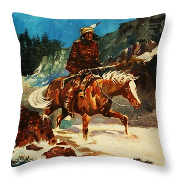 Throw Pillow featuring the painting Winter Trek by Al Brown