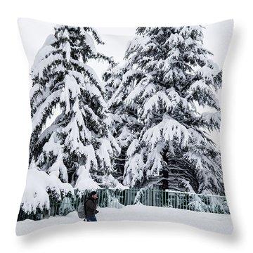 Winter Trekking Throw Pillow