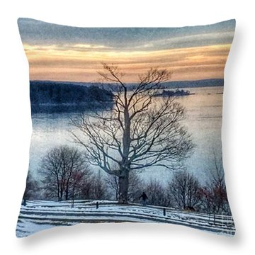 Winter Twilight At Fort Allen Park Throw Pillow by Patricia E Sundik
