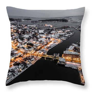 Throw Pillow featuring the photograph Winter Twilight In Mystic Connecticut by Petr Hejl