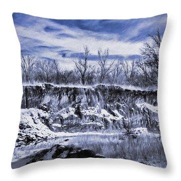 Winter Twin Silos Throw Pillow