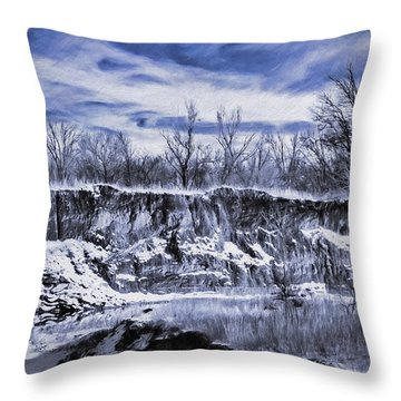 Winter Twin Silos Throw Pillow