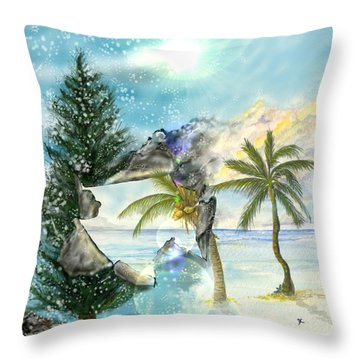 Throw Pillow featuring the digital art Winter Vacation by Darren Cannell
