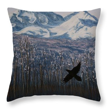 Throw Pillow featuring the painting Winter Valley Raven by Stanza Widen