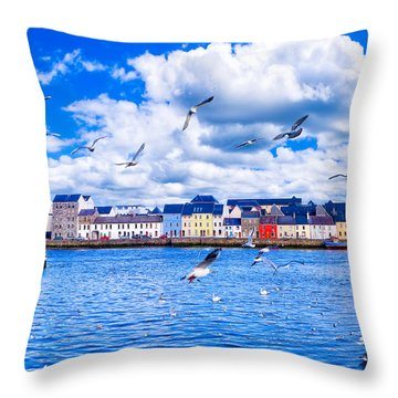 Winter View From The Claddagh In Galway Throw Pillow