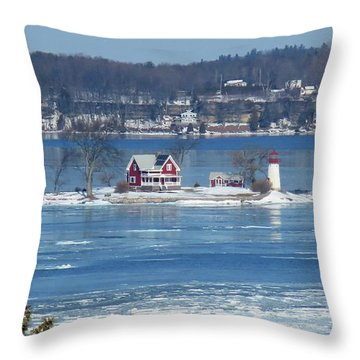 Winter View Of Crossover Island Throw Pillow