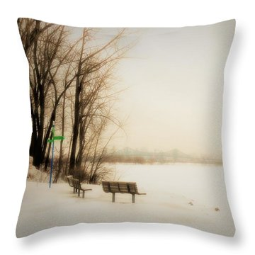 Winter View Over Montreal Throw Pillow