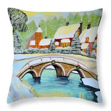Winter Village Throw Pillow