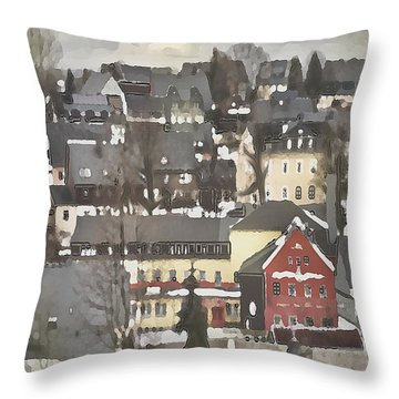 Winter Village With Red House Throw Pillow