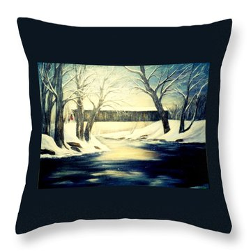 Winter Walk At Bennett's Mill Bridge Throw Pillow by Gail Kirtz
