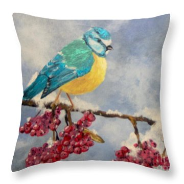 Throw Pillow featuring the painting Winter Watch by Saundra Johnson