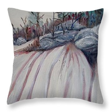 Throw Pillow featuring the painting Winter Waterfall by Marilyn  McNish