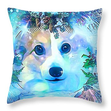 Throw Pillow featuring the digital art Winter Welsh Corgi by Kathy Kelly