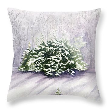 Throw Pillow featuring the painting Winter Wind by Melly Terpening