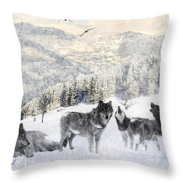 Winter Wolves Throw Pillow by Lourry Legarde