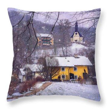 Winter Wonderland In Mondsee Austria  Throw Pillow