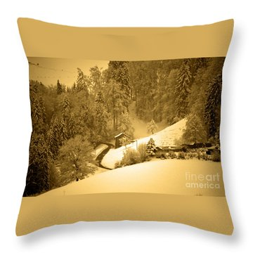 Throw Pillow featuring the photograph Winter Wonderland In Switzerland - Up The Hills by Susanne Van Hulst