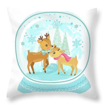 Winter Wonderland Snow Globe Throw Pillow