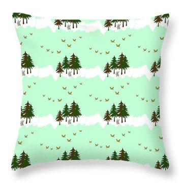 Winter Woodlands Bird Pattern Throw Pillow by Christina Rollo