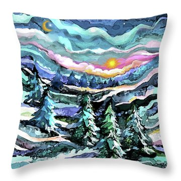 Winter Woods At Dusk Throw Pillow