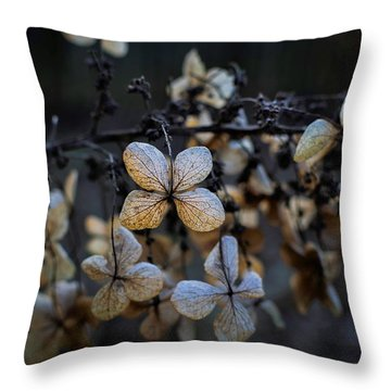 Winterized Hydrangea Throw Pillow