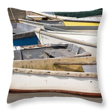 Winterport Dories Abstract Throw Pillow by Peter J Sucy