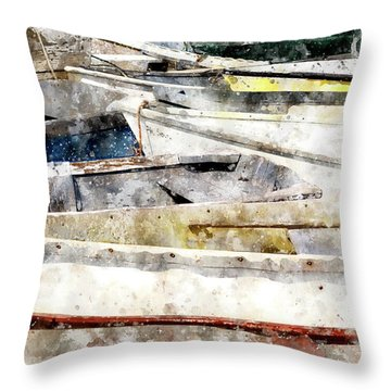 Winterport Dories Wc Throw Pillow by Peter J Sucy