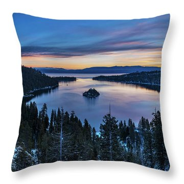 Winters Awakening - Emerald Bay By Brad Scott Throw Pillow