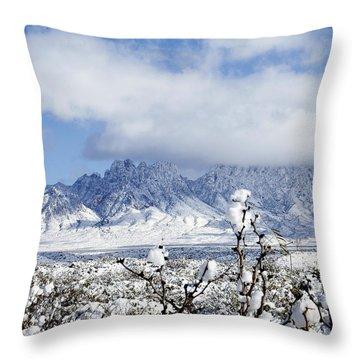 Throw Pillow featuring the photograph Organ Mountains Winter Wonderland by Kurt Van Wagner