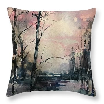 Winter's Blush Throw Pillow
