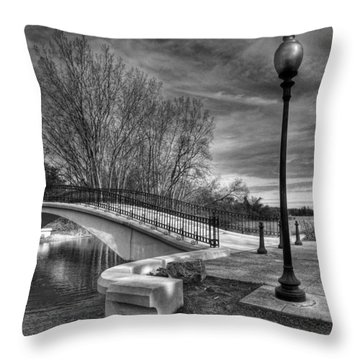 Throw Pillow featuring the photograph Winter's Bridge by Rodney Campbell