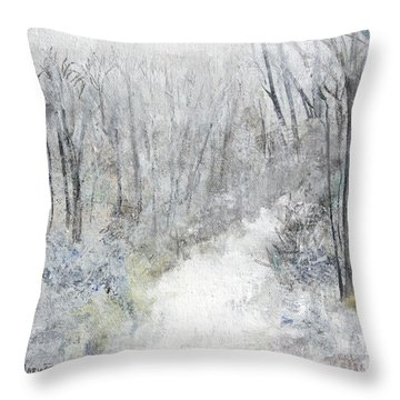 Throw Pillow featuring the painting Winter's Day by Robin Maria Pedrero