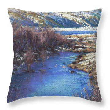 Winter's Edge, Flat Creek Jackson Throw Pillow by Louise Green