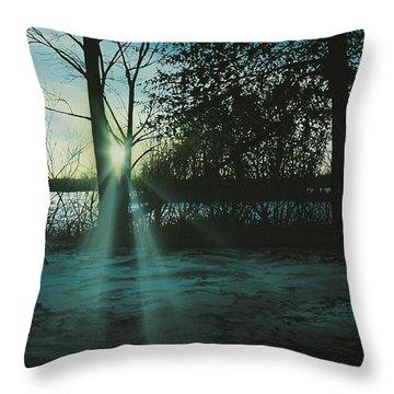 Winter's Evening Scout Throw Pillow