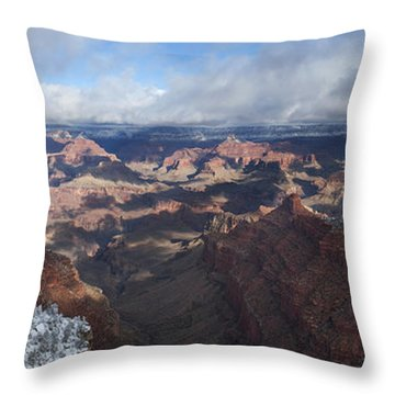 Winter's Grasp At The Grand Canyon Throw Pillow by Sandra Bronstein