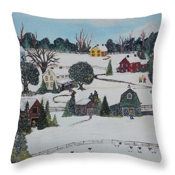 Throw Pillow featuring the painting Winters Last Snow by Virginia Coyle