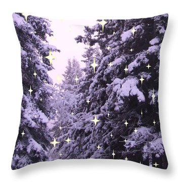 winter's Path Throw Pillow