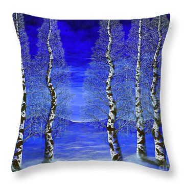 Winters Raven Aspen Throw Pillow by Rebecca Parker