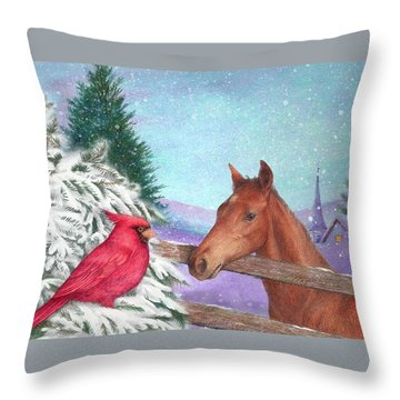 Winterscape With Horse And Cardinal Throw Pillow