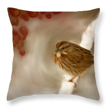 Wintertime Sparrow Throw Pillow