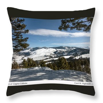 Wintertime View From Hellroaring Overlook In Yellowstone National Park Throw Pillow by Carol M Highsmith